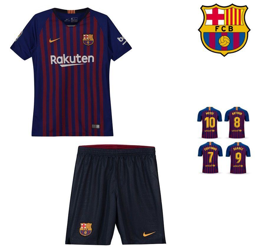 Conjunto Infantil (Camisa + Shorts) Barcelona 2018-19 (Home-Uniforme ... eade5abaeeb6a
