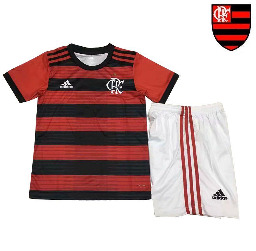 13ee833eadb21 Conjunto Infantil (Camisa + Shorts) Flamengo 2018-19 (Home-Uniforme ...