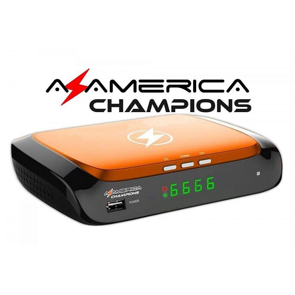Receptor Azamérica Champions com Tuner ACM/VCM e Tecnologia H 265 (4K)