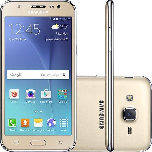 """Smartphone Samsung Galaxy J5 Duos Tela 5"""" 16GB 4G Wi-Fi Câmera 13MP - Dourado"""