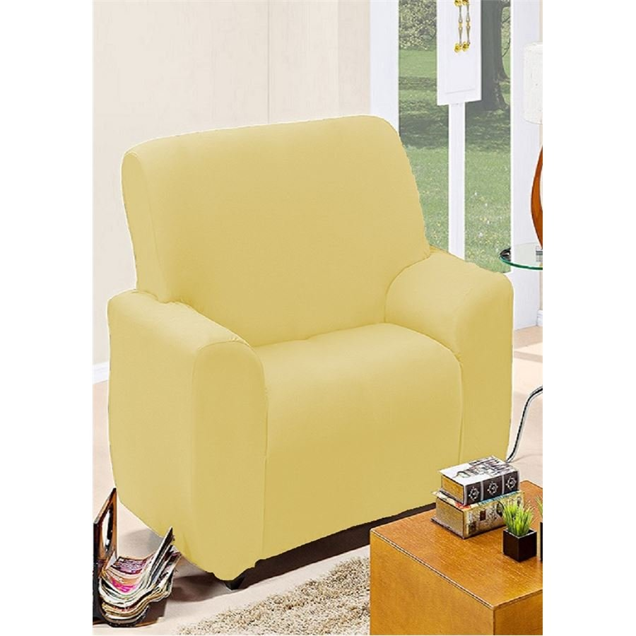 Capa de sof avulsa 1 lugar em malha dupla marfim casas for Sofa 1 lugar com chaise