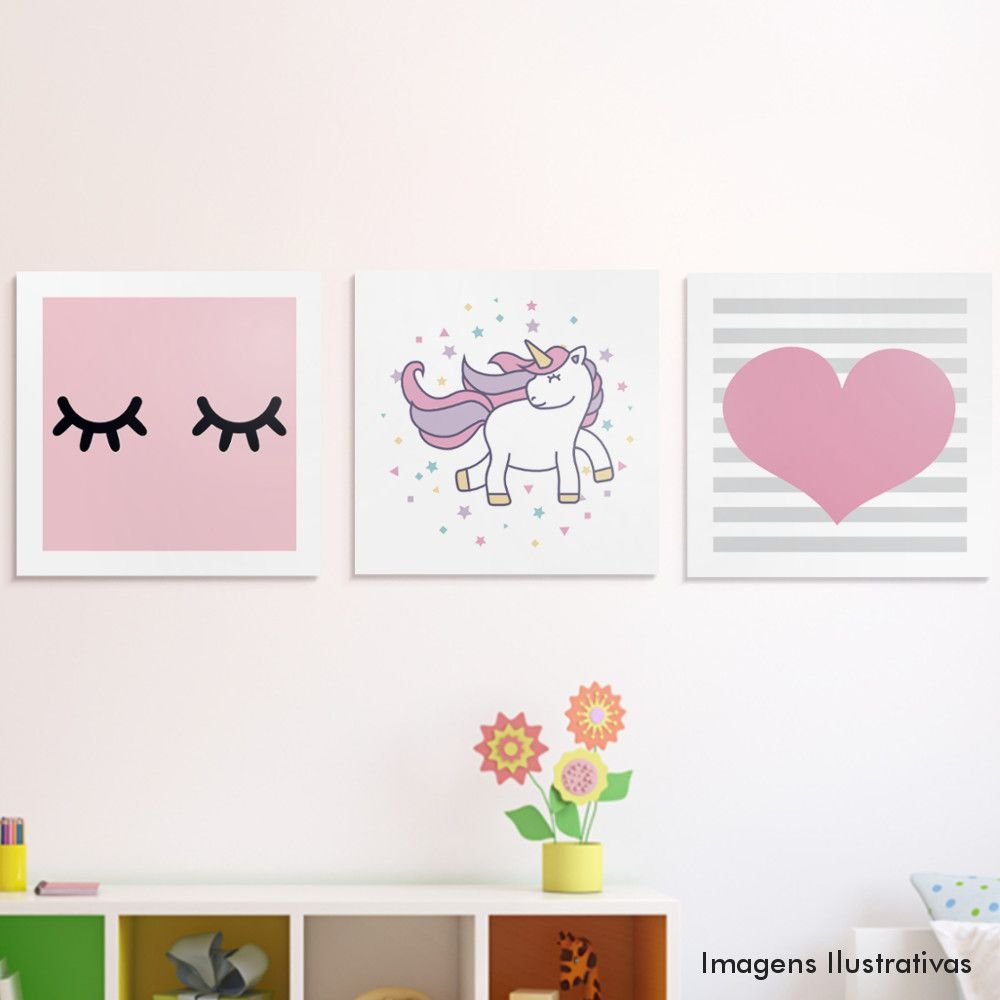 Kit quadro decorativo infantil unic rnio c lios e cora o - Papel de pared decorativo ...