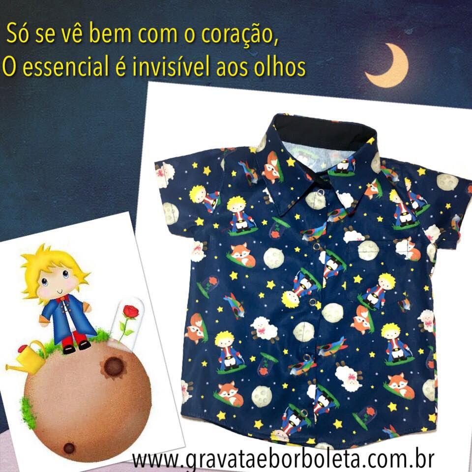 db23b1cf812 Camisa Infantil Temática Pequeno Príncipe - Gravata   Borboleta