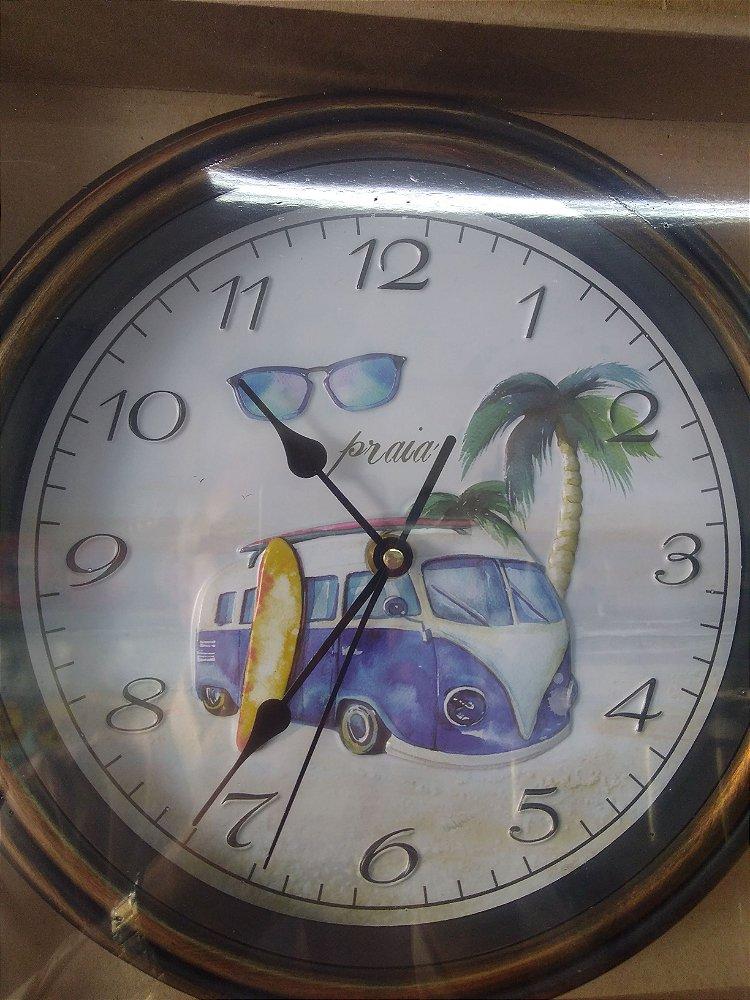 892359b23da Relógio Kombi do Surf - Vidro Sobre Madeira - 30cm - Central das ...