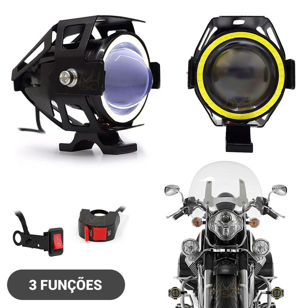 eeb9b4cb79 Farol de LED Milha Moto CREE U7 15w 3000 Lumens + Angel Eyes Branco ...