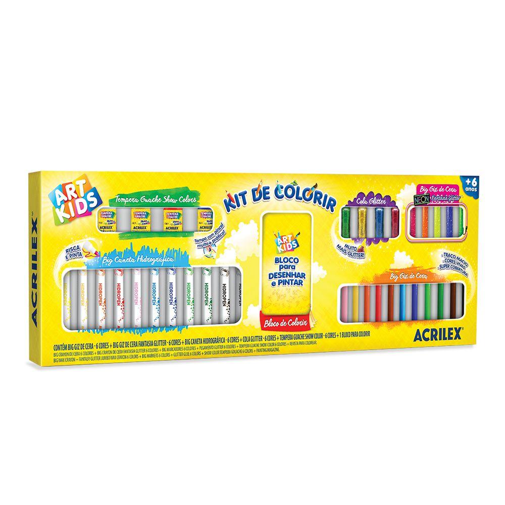 Kit De Colorir Acrilex Canetinhas E Giz Big Neon E Tinta