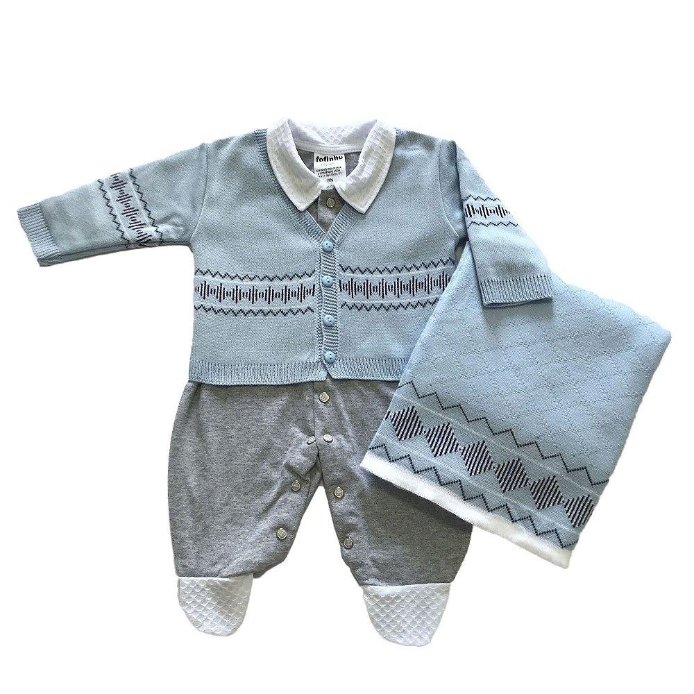 fe87d5d4ece9a Saída de Maternidade em Tricot Azul Claro - Sereia Kids  Roupas de ...