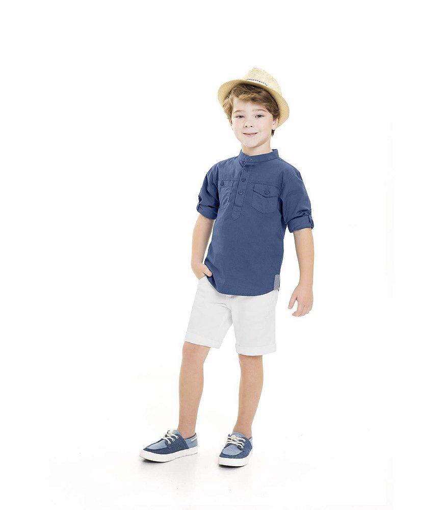 CAMISA INFANTIL SOCIAL AZUL MARINHO MANGA LONGA TIPO BATA TRICK NICK. CAMISA  INFANTIL SOCIAL ... f071658c24933