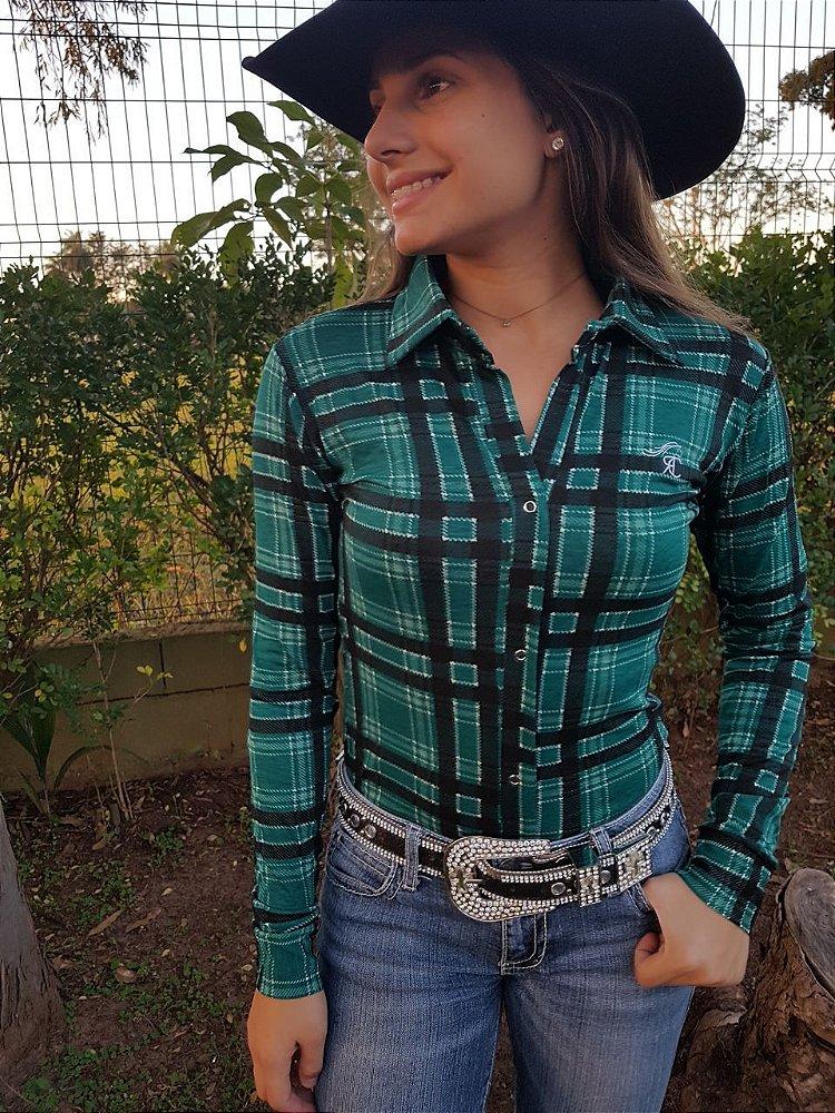 4c358d15cc Camisas Body Country Feminino Cowgirl Manga Longa Estampado Flores Floral  Azul Turquesa Rosas ...