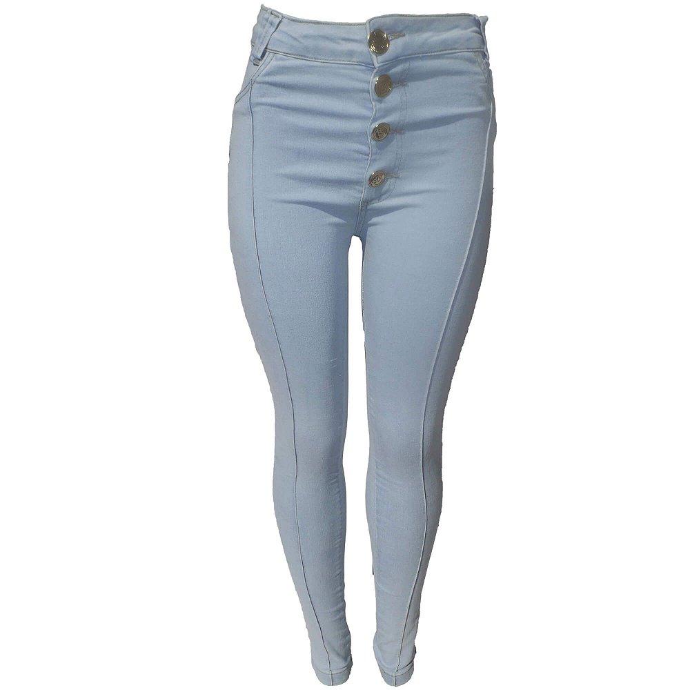 f21177902 Calça Jeans Feminina Azul Claro Cintura Alta - Girassol Jeans |As ...