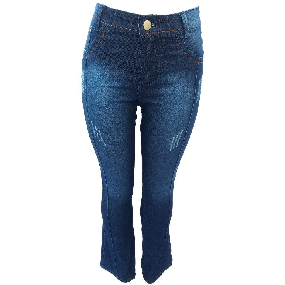 0808cc7d7 Calça Jeans Feminina Flare Cintura Alta com Listras e Puidos ...