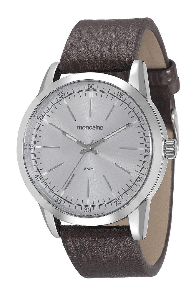 95de96072f0 Relógio Mondaine Masculino em Aço Prata e pulseira de Couro ...