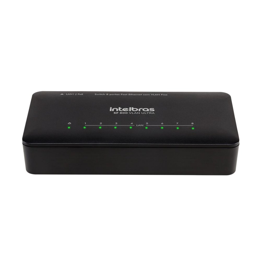Switch Fast Ethernet Com Vlan Fixa Com 8 Portas Sf800 Vlan Ultra Intelbras