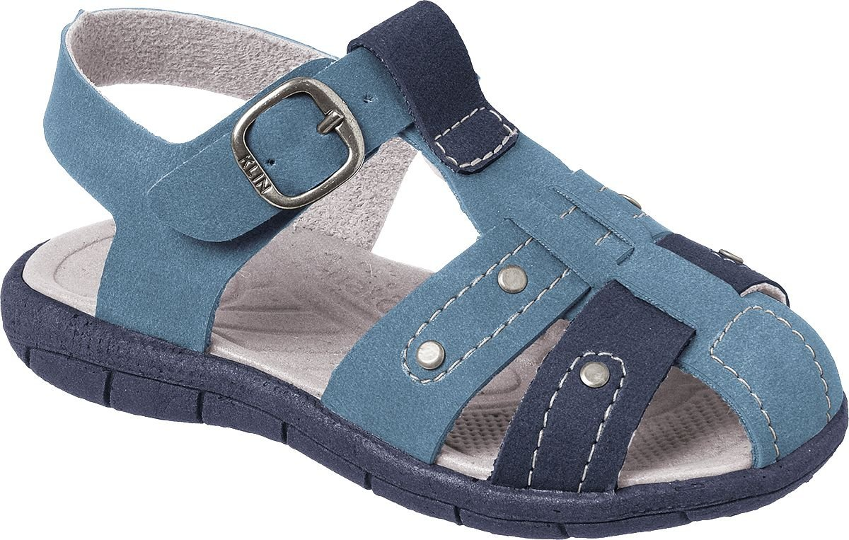 226c80d6bb Sandália Papete Infantil Line Play Azul Denim Costuras - Klin - Bilu ...