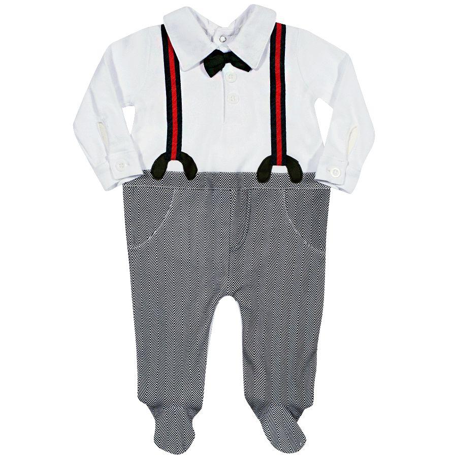 2e5cf7e24 Macacão Bebe com aplique de gravata e suspensório - Tip Top. Código: 10072. Macacão  Bebe com aplique de gravata e suspensório - Tip Top