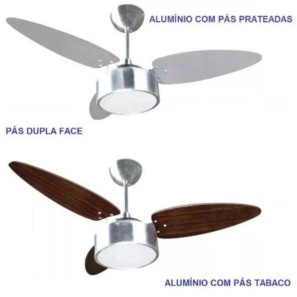 8734bf7e8 Ventilador De Teto Fharo 3 Pás Dupla Face Prata tabaco - Ventisol. Código   VE-FHARO. Ventilador De Teto ...