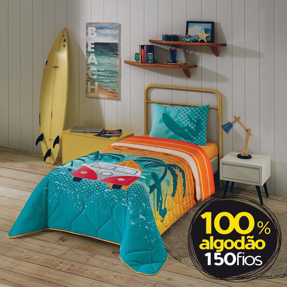 3816556b18 Edredom Solteiro Estampado Surf 150 Fios Lepper - Click Cama - Sua ...