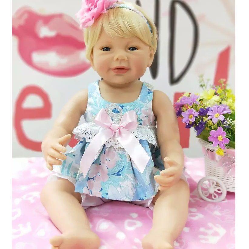 31ba9989d Boneca Bebê Reborn Realista Loira Inteira de Silicone LUIZA - Doce ...