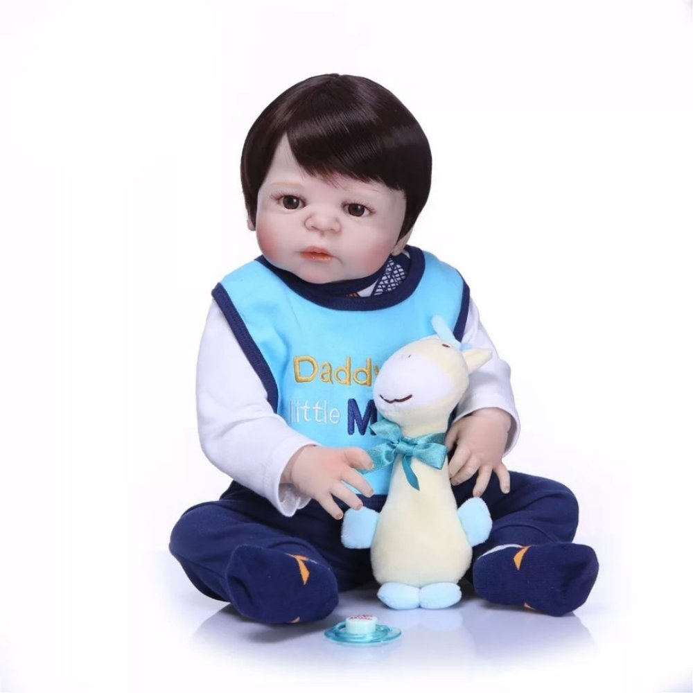 004ebc24f Bebê Reborn Menino Inteiro de Silicone com Cabelos Pretos JORGE ...