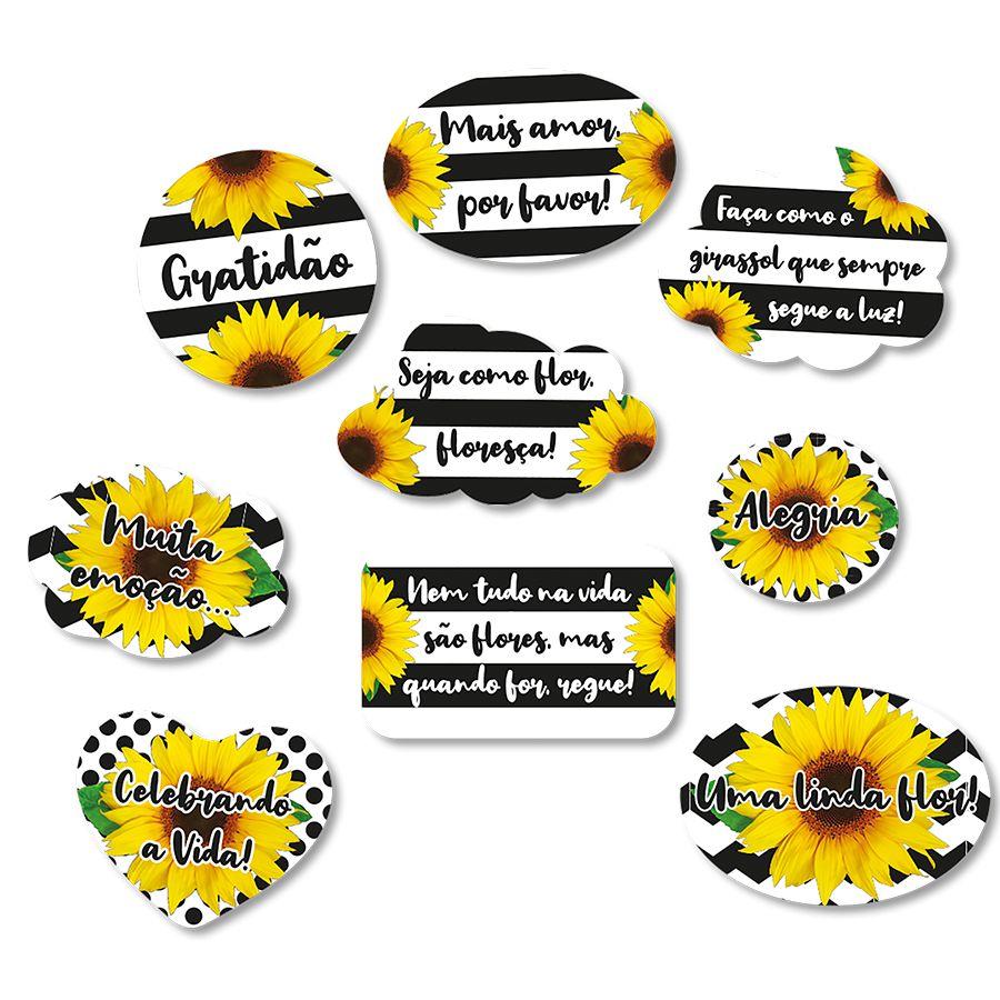 Kit Plaquinhas Festa Girassol 9 Unidades Festcolor Rizzo