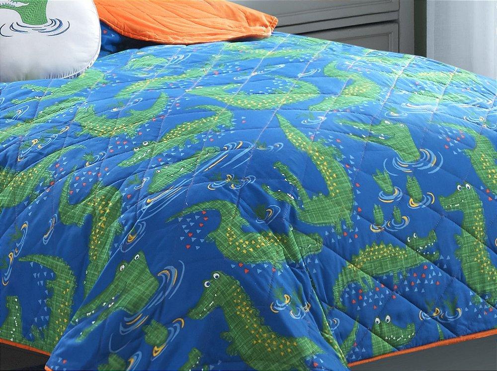 3d7437c27e Colcha Solteiro Playtex Kids com Almofada Jacaré Azul - Site de ...