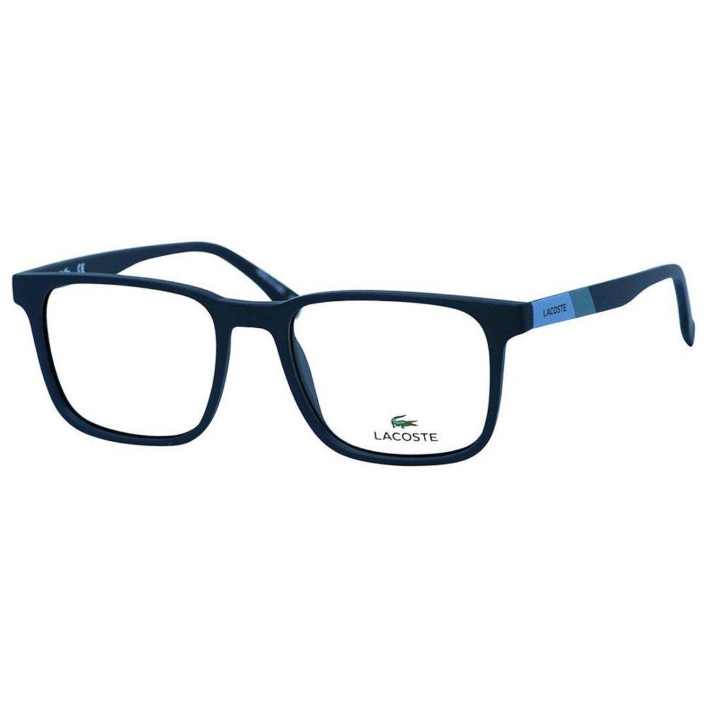 383ca8783 Óculos de Grau Quadrado Lacoste L2819 Masculino Azul Fosco Médio ...