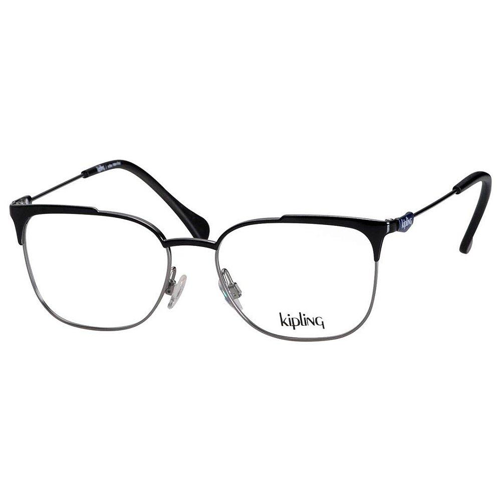 c0d7e04b3 Óculos de Grau Feminino Preto Brilho Kipling KP1109 Metal Médio. Óculos de Grau  Feminino Preto ...