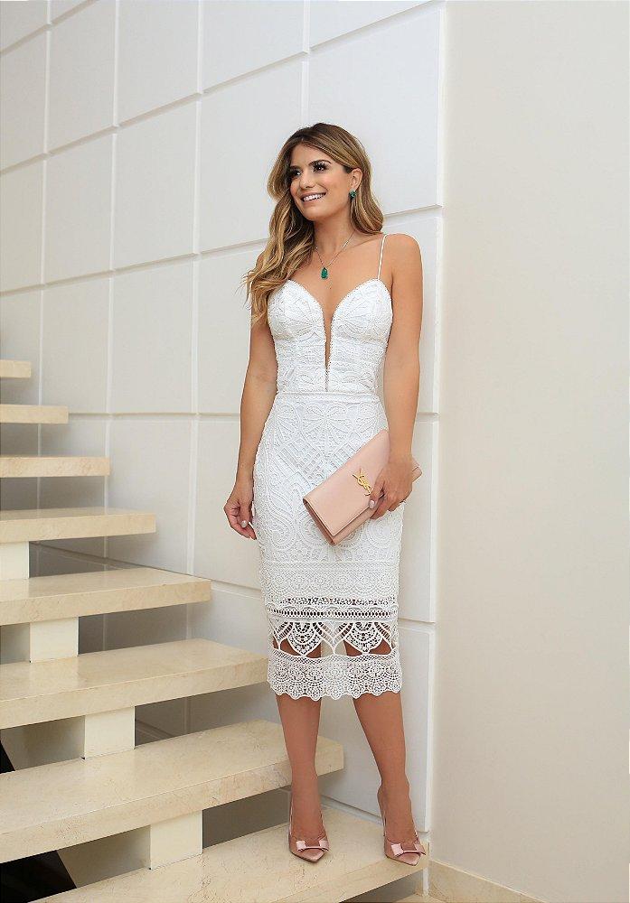 Vestido Midi Renda Guipir Off White Closetdamay Loja De