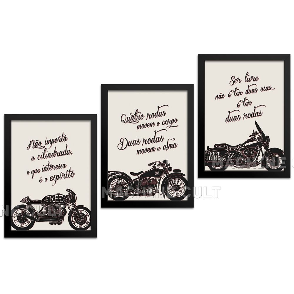 Kit Quadros Decorativos Frase Moto