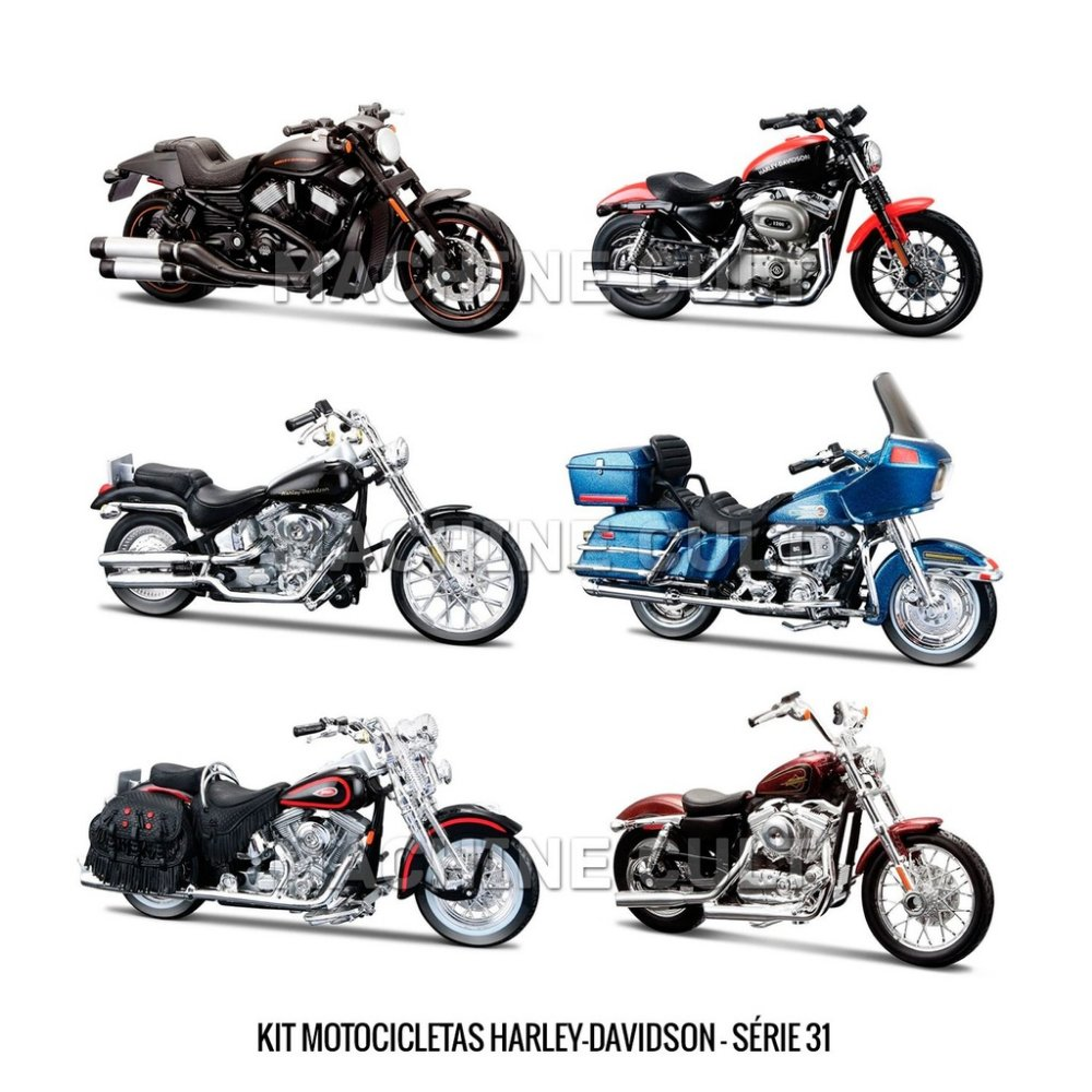 kit motocicletas harley davidson s rie 31 6 unidades machine cult miniaturas de moto e. Black Bedroom Furniture Sets. Home Design Ideas