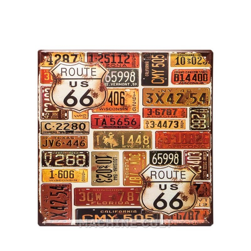 Placa Vintage Rota 66