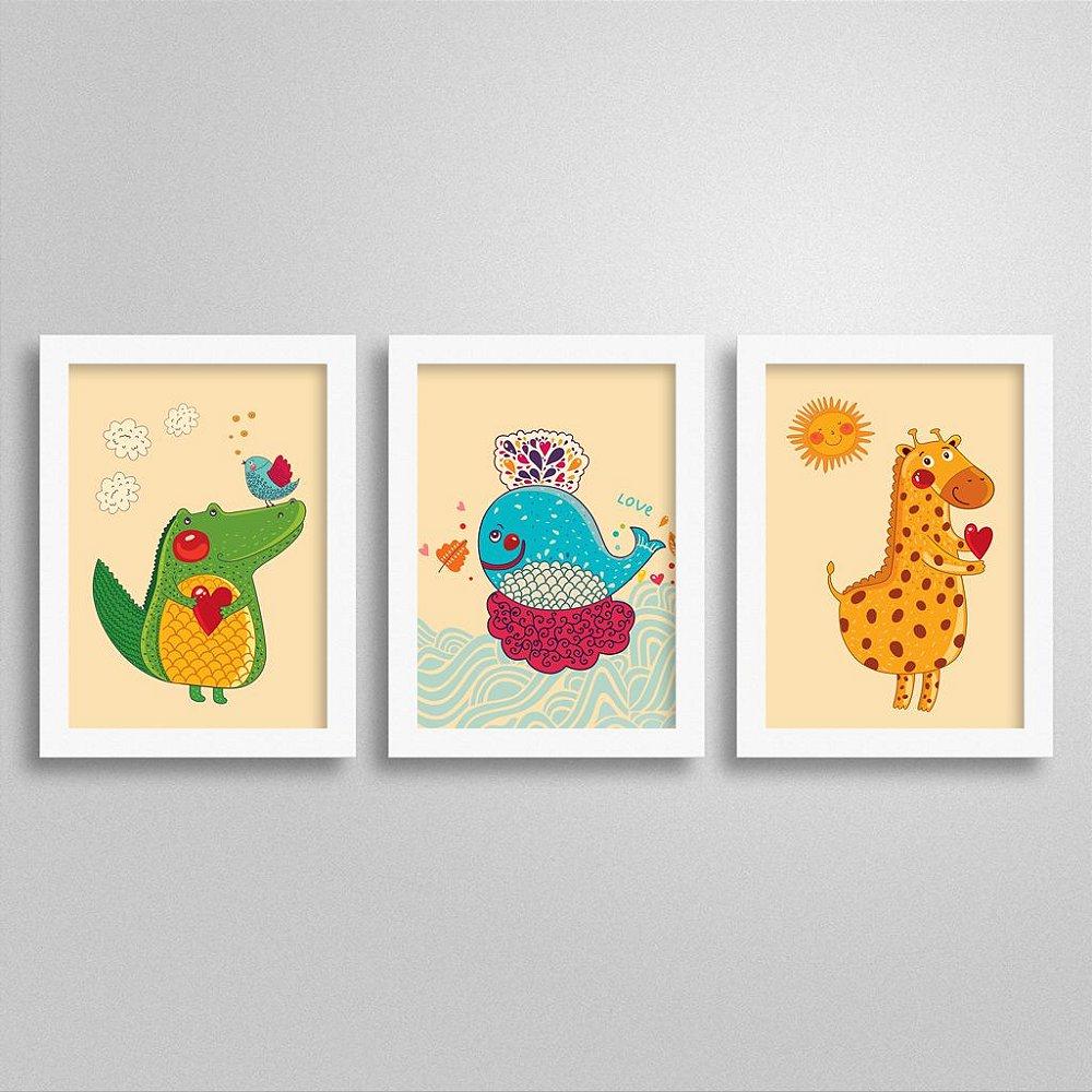 Quadros Love Animals para quarto infantil