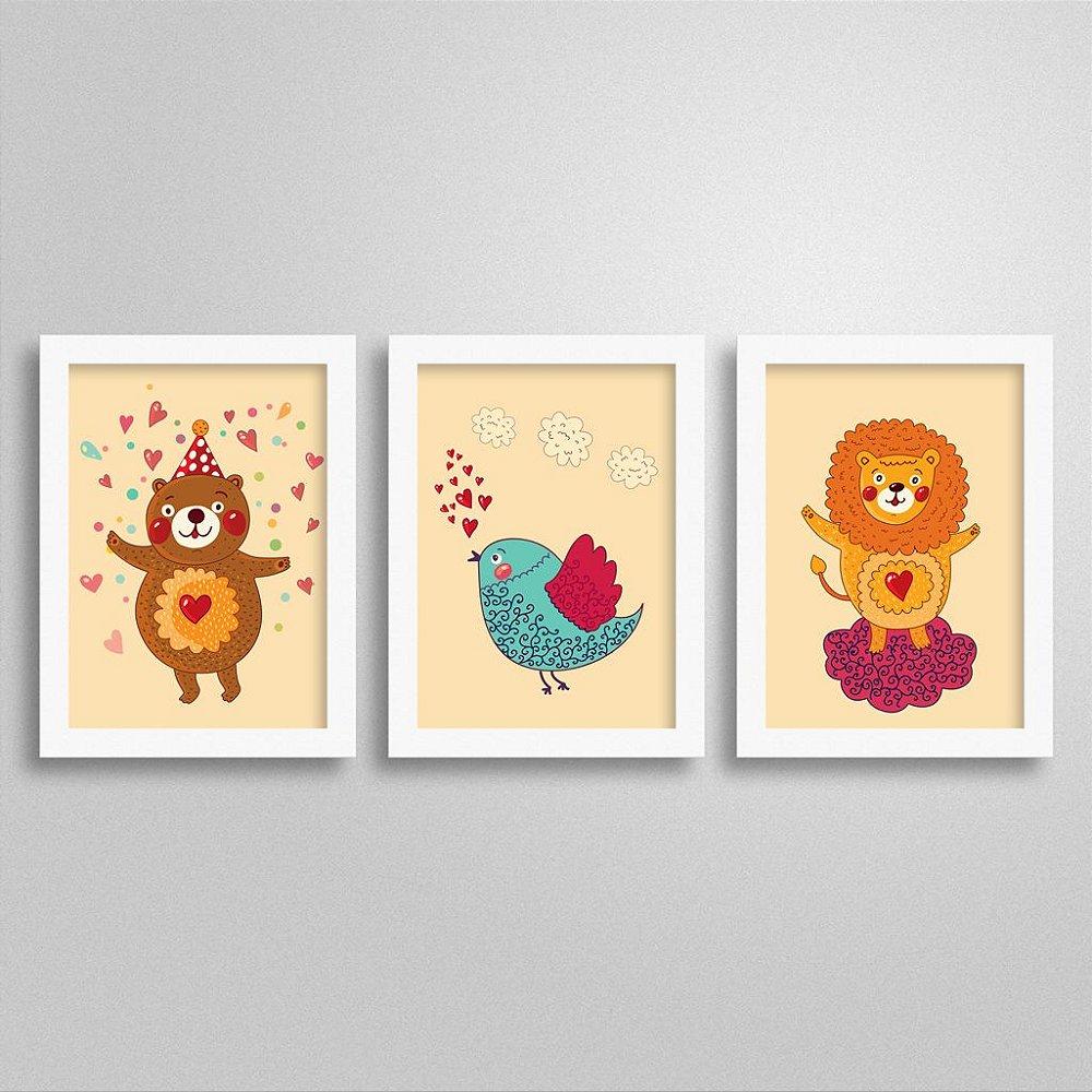 Trio Quadros Love Animals para decoração