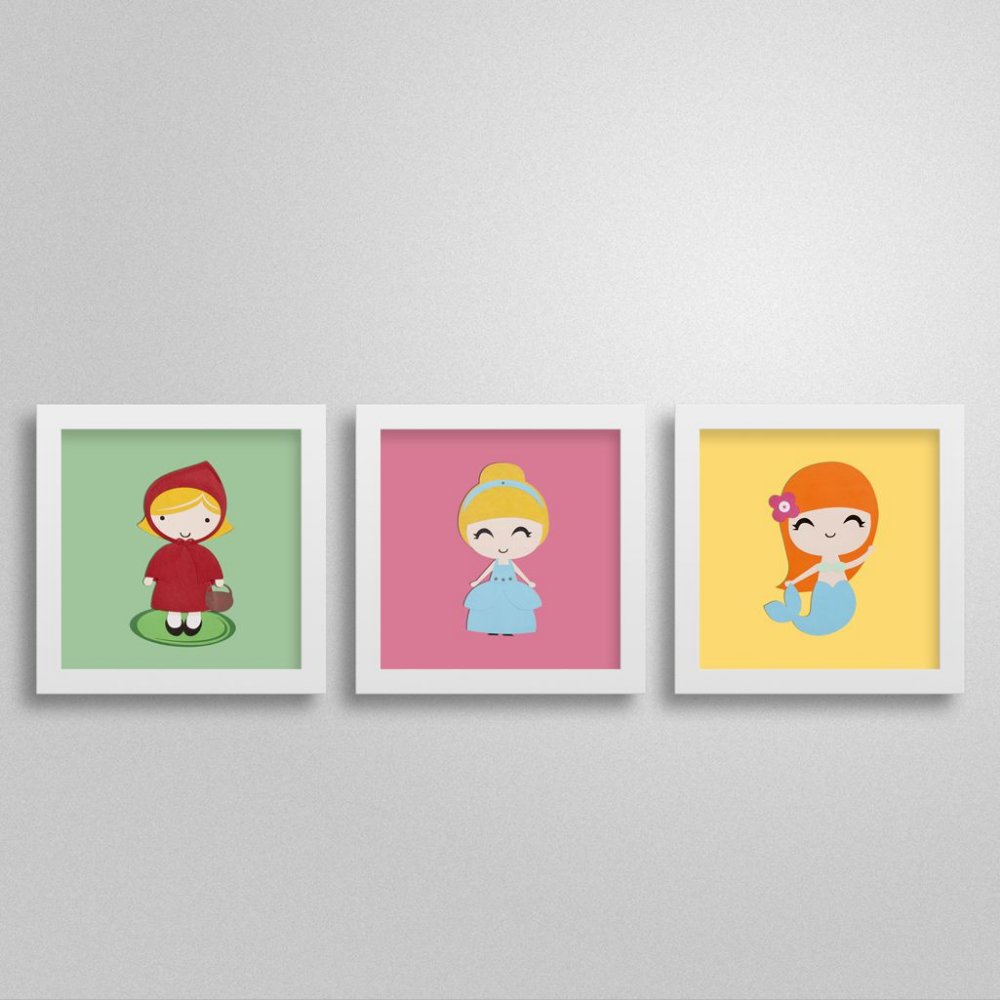 Trio quadros Princesas para quarto de menina