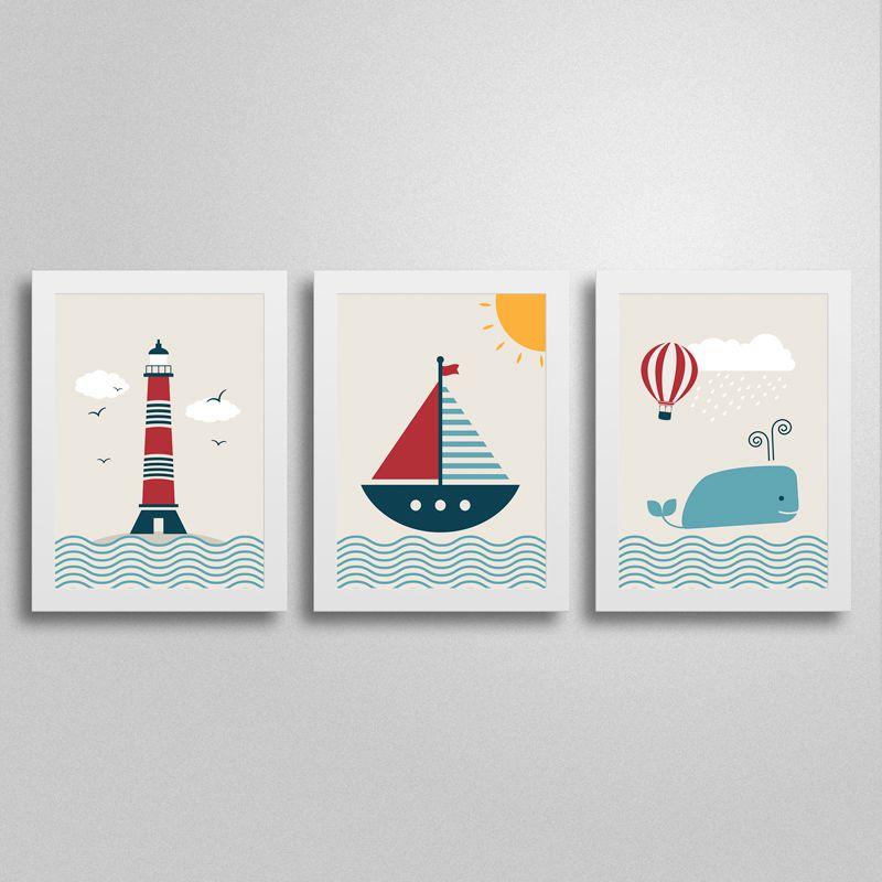 Conjunto de Quadros Navy para decoração de quarto de bebês e crianças