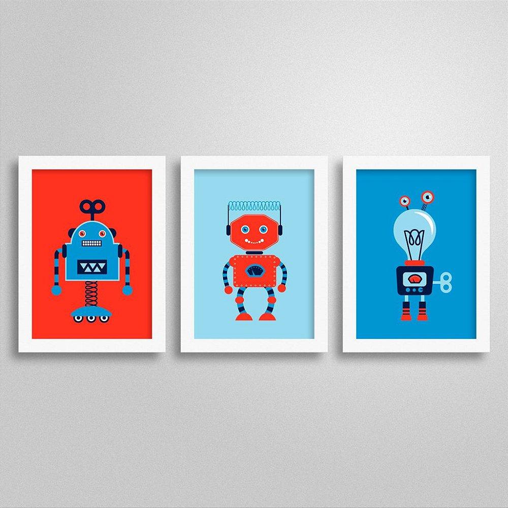 Kit Quadros para decoração Robôs