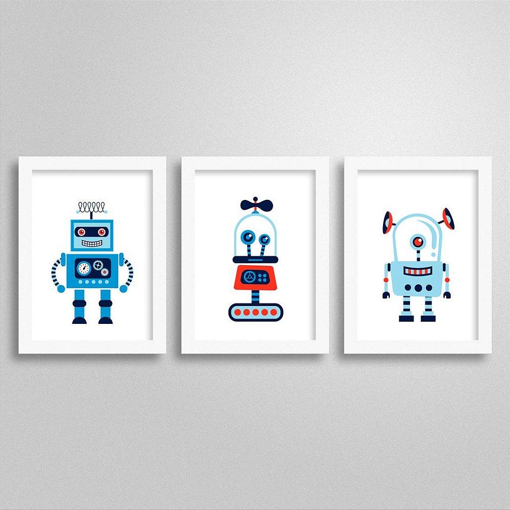 Kit Quadros Decorativos Robôs