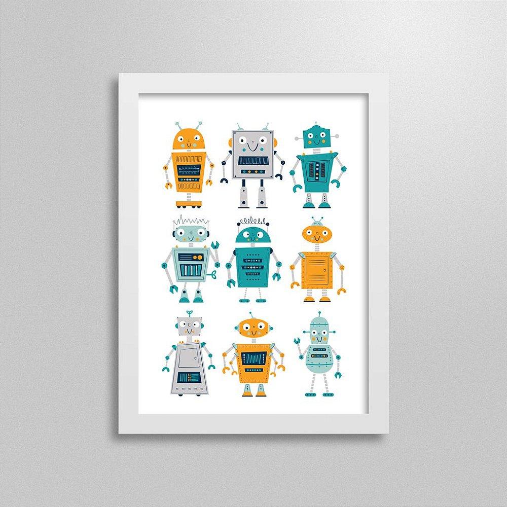 Quadro Decorativo para quarto infantil com diversos Robôs