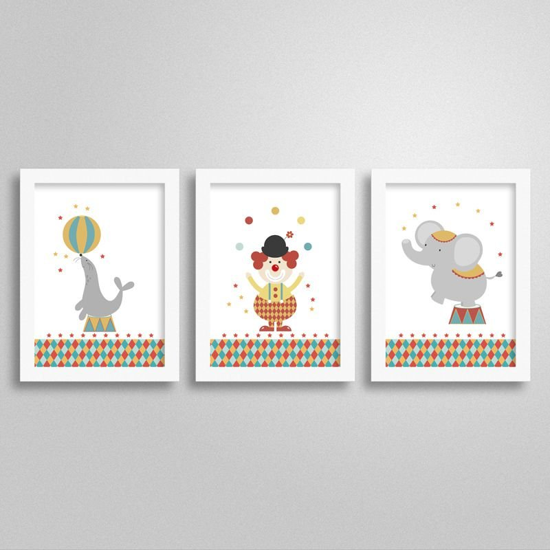 Kit Quadrinhos Decorativos Tema Circo