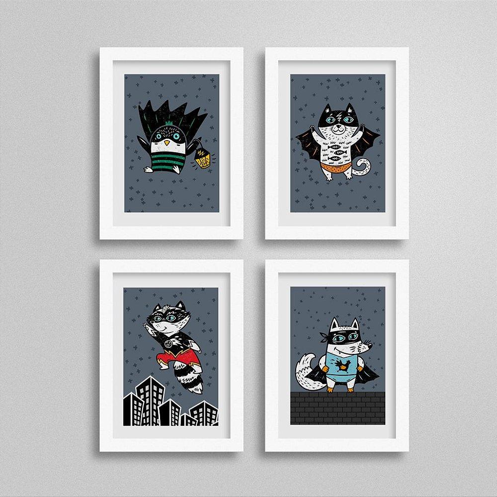 Kit Quadros Super-Heróis para quarto de meninos