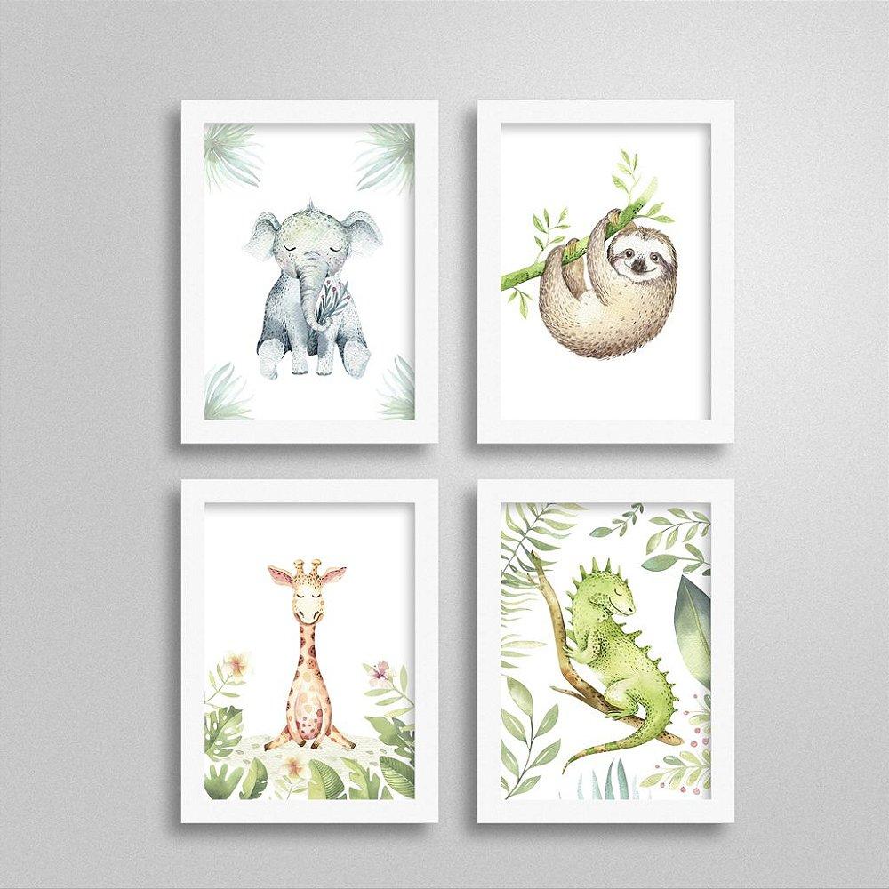 Quadros Bichinhos de Safari: Elefante, Preguiça, Girafa e Lagarto