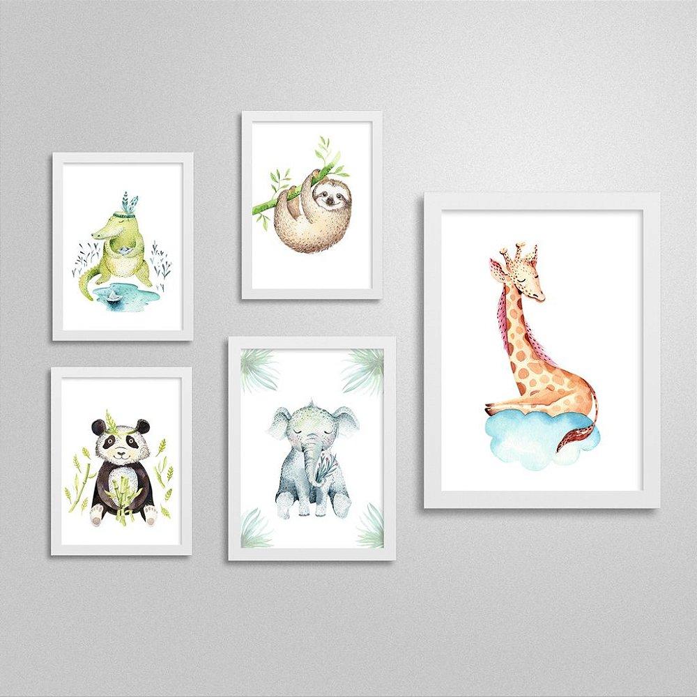 Quadros Bichinhos de Safari: Panda, Jacaré, Elefante, Preguiça e Girafa