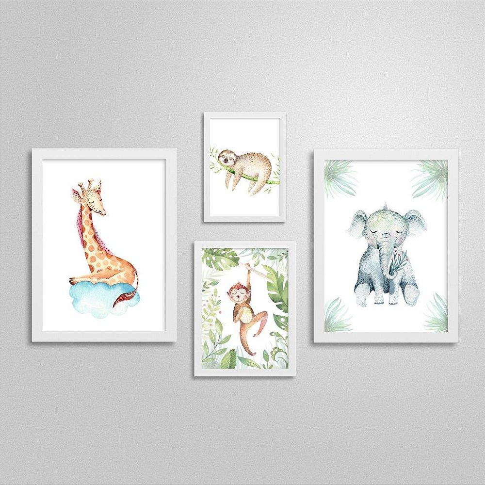 Quadros Bichinhos de Safari: Girafa, Preguiça, Macaco e Elefante