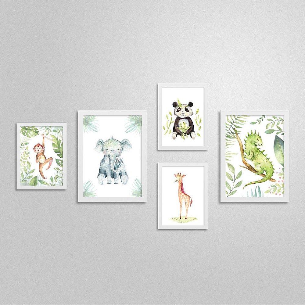 Quadros Bichinhos de Safari: Macaco, Elefante, Girafa, Urso Panda e Lagarto