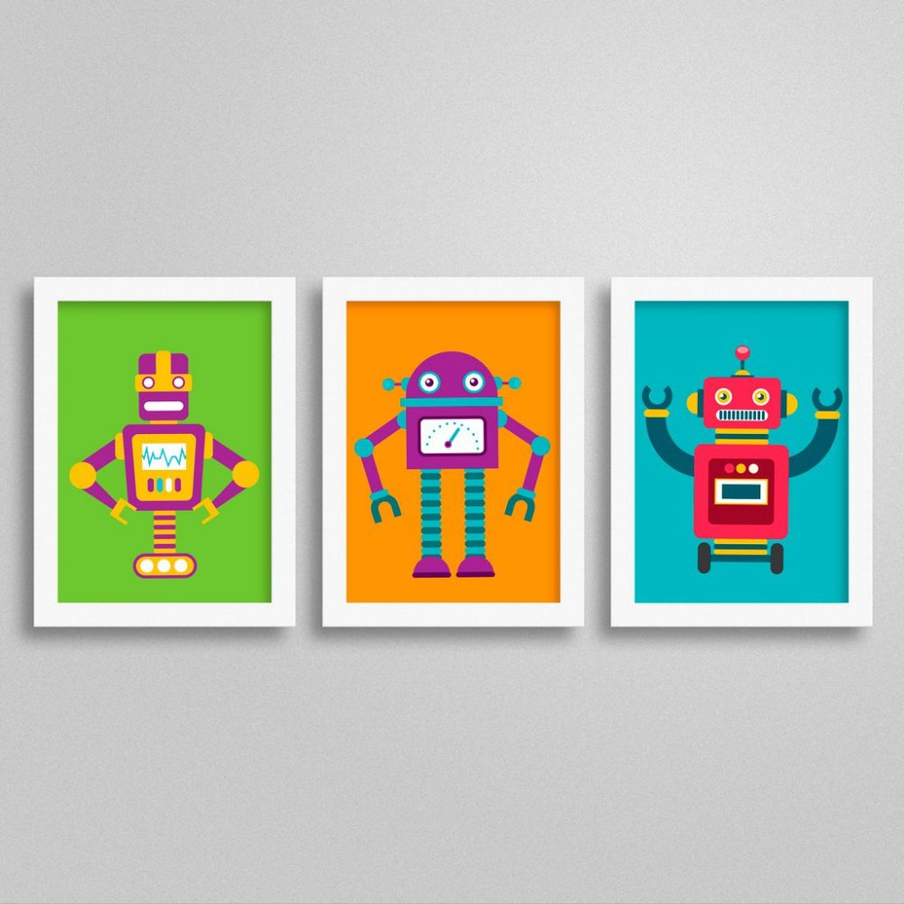 Quadros com Robô para Quarto de Menino