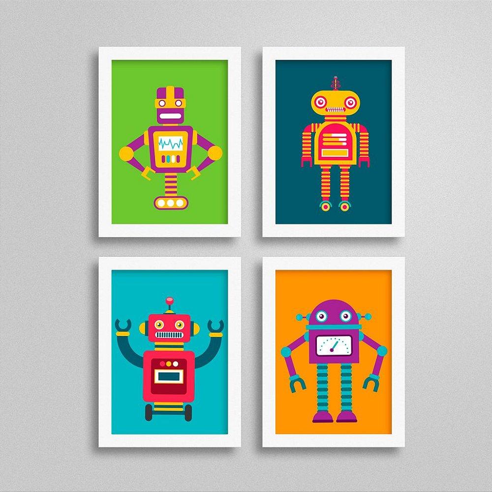 Conjunto de 4 Quadros com Robô para Quarto de Menino