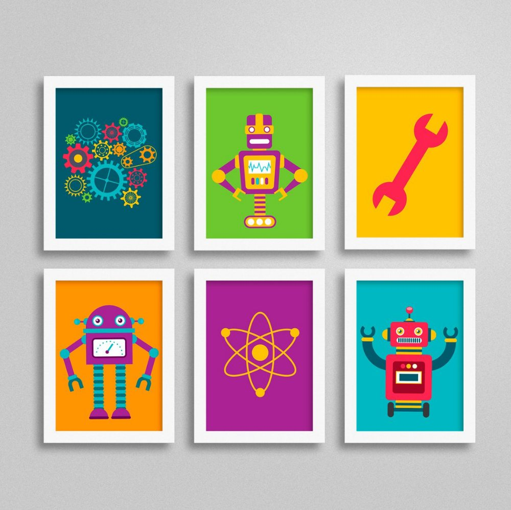 Conjunto com 6 Quadrinhos com Robô para Quarto de Menino