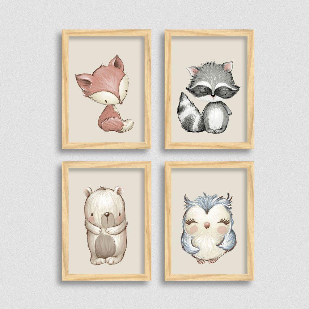 Quadros Bichinhos Fofos: Raposa, Guaxinim, Urso e Coruja