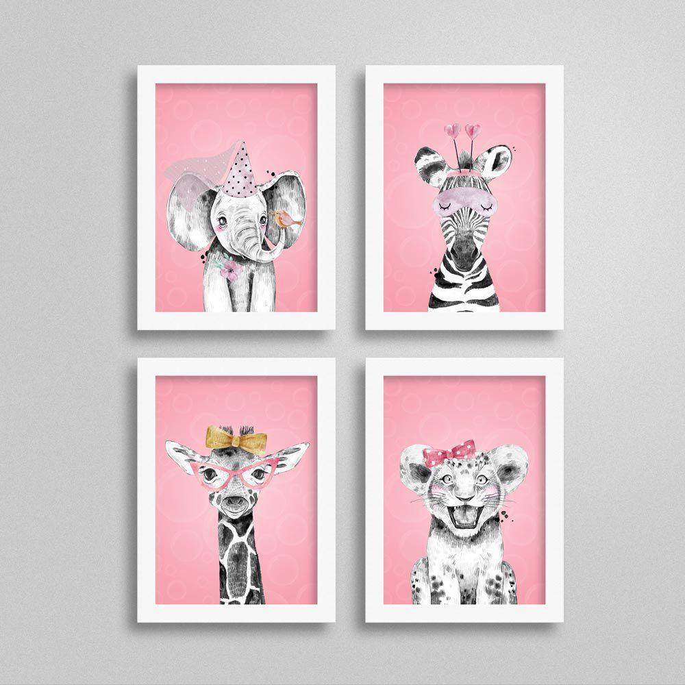 Quadros Quarto de Menina Safari com fundo cor-de-rosa