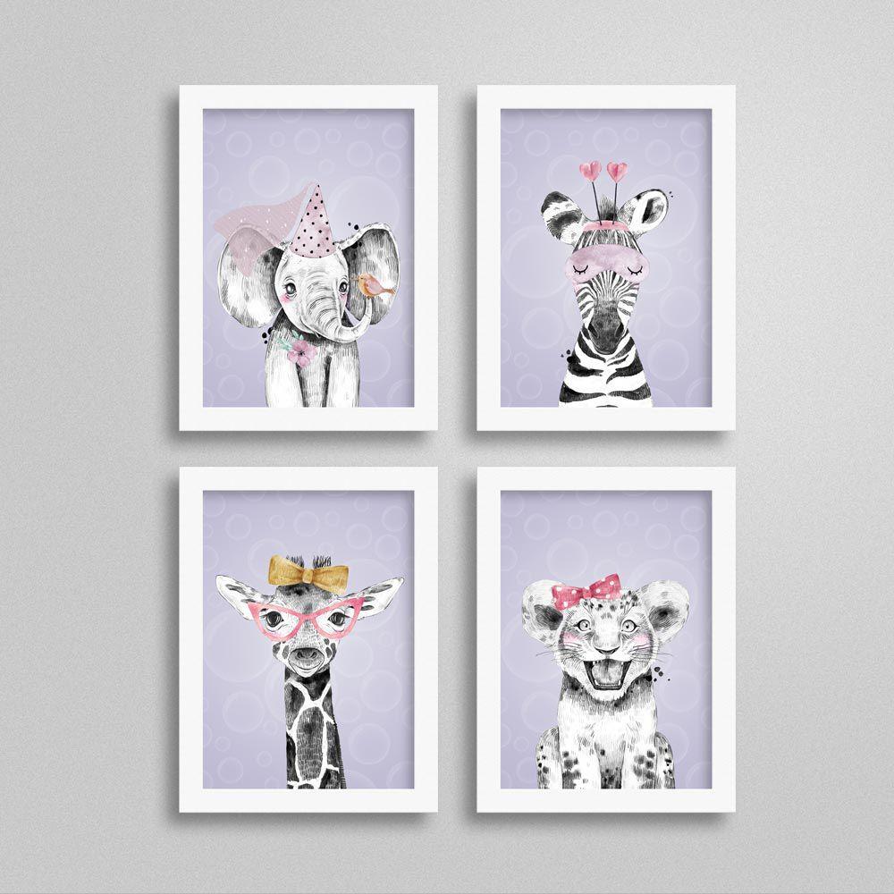 Quadros Quarto de Menina Safari com fundo lilás